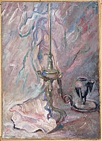 still life with oil lamp florentine and shell